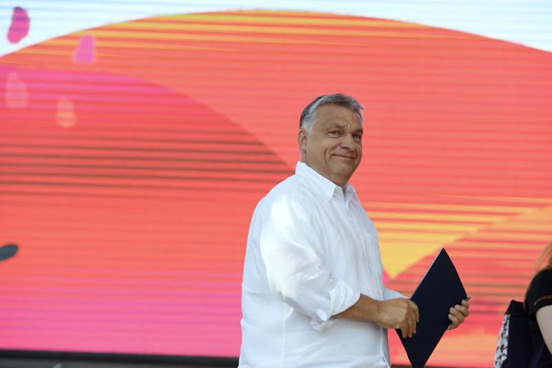 Hungarian Prime Minister Viktor Orban arrives on the stage to speak at the 30th Balvanyos Summer University and Students' Camp in Baile Tusnad, Transylvania, Romania, Saturday, July 27, 2019. (Szilard Koszticsak/MTI via AP)