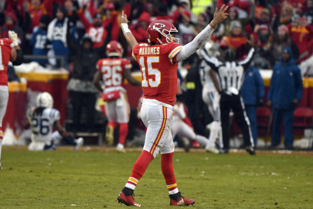 Kansas City Chiefs quarterback Patrick Mahomes (15) celebrates a touchdown by wide receiver Tyreek Hill (10) against the Colts. (AP)