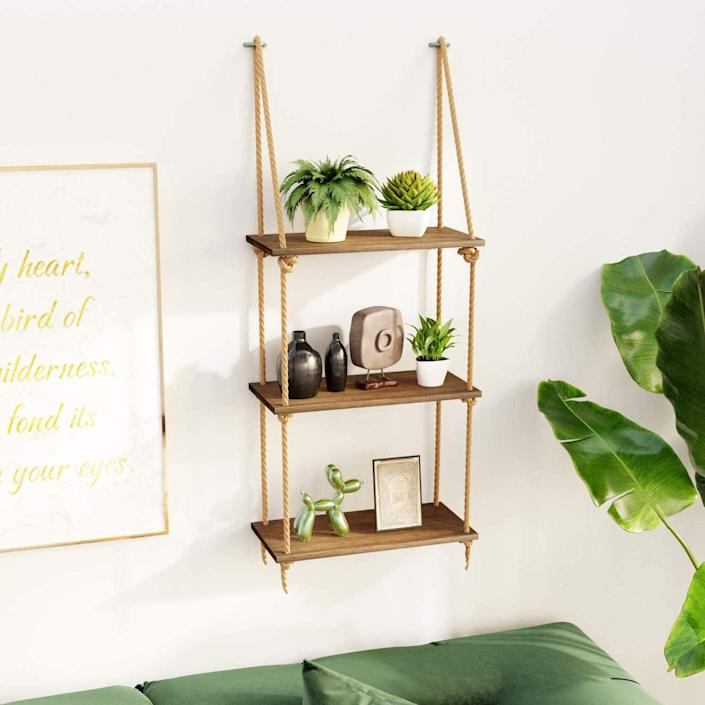 <p>These <span>Bamfox Hanging Wall Shelves</span> ($26) will blend nicely with your nature-inspired decor.</p>