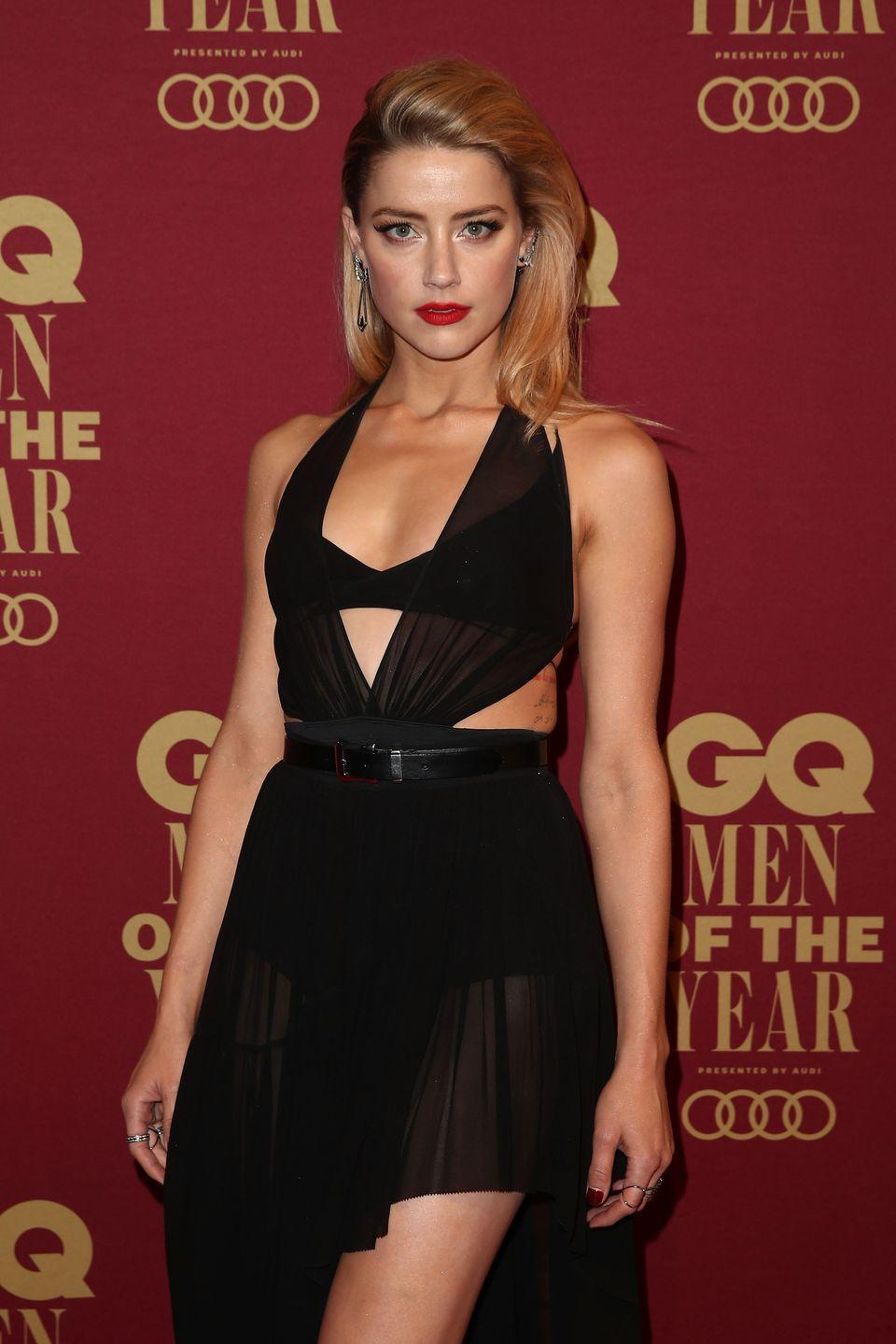"<p>Amber starred in <em>Aquaman</em> and she looked hot. The actress trained like an athlete for multiple hours a day, trainer Gunnar Peterson told <em><a href=""https://people.com/bodies/amber-heard-aquaman-trained-multiple-hours-a-day/"" rel=""nofollow noopener"" target=""_blank"" data-ylk=""slk:PEOPLE"" class=""link rapid-noclick-resp"">PEOPLE</a></em>. He says workouts included everything from squat presses to sled work to resistance training. </p>"