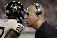Vanderbilt head coach James Franklin yells to his players in the first quarter of an NCAA college football game against UAB, Saturday, Sept. 28, 2013, in Nashville, Tenn. (AP Photo/Mark Humphrey)