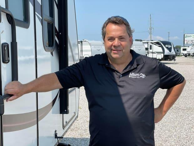 Edward Raymond, co-owner of Leisure Trailer Sales, says there's growing interest in RVing this year. (Amy Dodge/CBC - image credit)