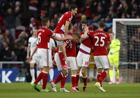 Britain Soccer Football - Middlesbrough v Sunderland - Premier League - The Riverside Stadium - 26/4/17 Middlesbrough's Marten de Roon celebrates scoring their first goal with team mates Reuters / Phil Noble Livepic