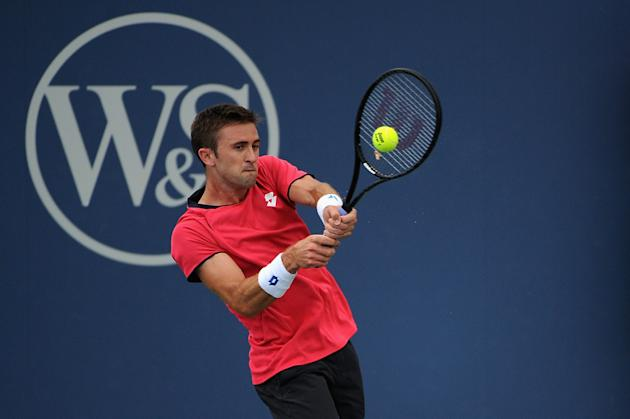 Tim Smyczek in action in Cincinnati last weekend. (Photo by Jonathan Moore/Getty Images)