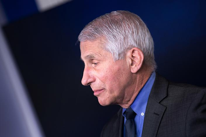 US National Institute of Allergy and Infectious Diseases Anthony Fauci listens during a press briefing at the White House where he spoke about a pause in issuing the Johnson & Johnson Covid-19 vaccine on April 13, 2021, in Washington, DC. (Photo by Brendan Smialowski / AFP) (Photo by BRENDAN SMIALOWSKI/AFP via Getty Images)