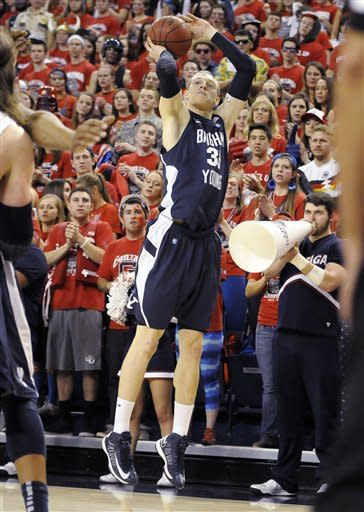 Bringham Youngs's Nate Austin (33) shoots against Gonzaga in the first half of an NCAA college basketball game, Thursday, Jan. 24, 2013, in Spokane, Wash. (AP Photo/Jed Conklin)