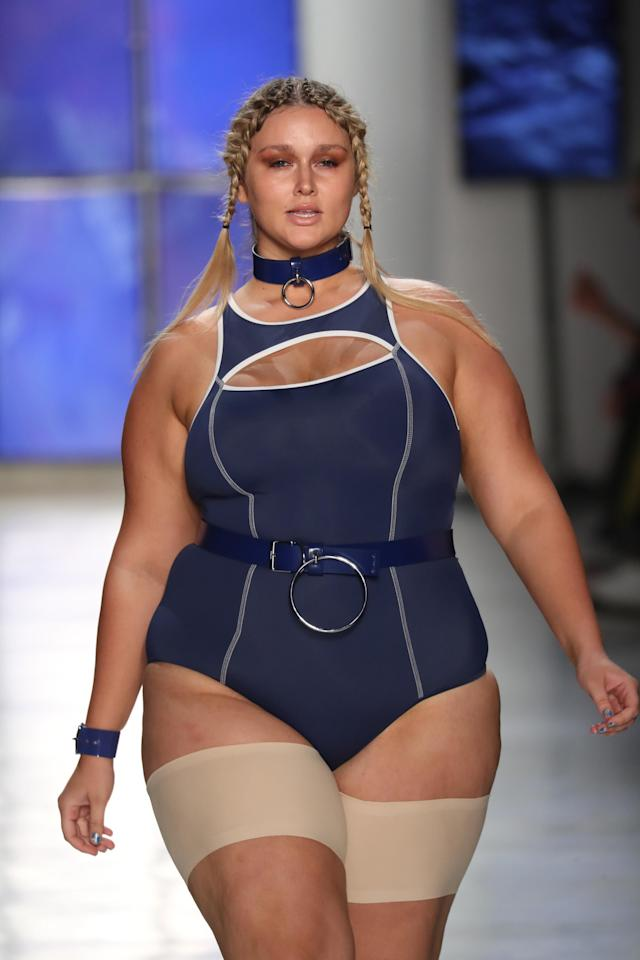 A model sports anti-chafe thigh bands during the Chromat show for New York Fashion Week. (Photo: Getty Images)