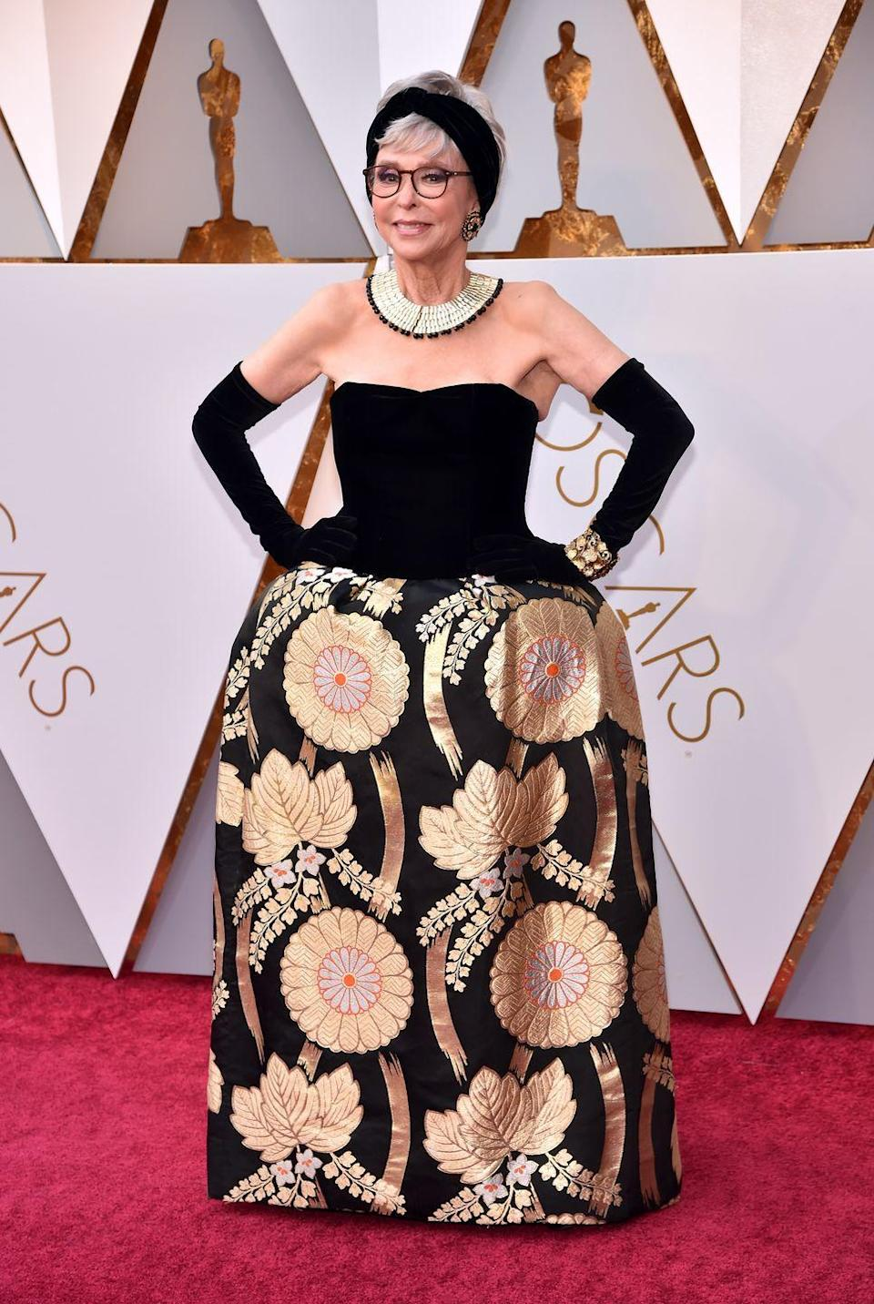 <p>Rita Moreno re-wearing the gown she won Best Supporting Actress in at the Oscars in 1962.</p>