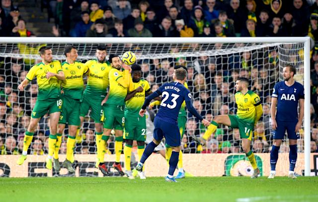 Christian Eriksen's strike brushed the top of the wall before finding the top corner. (Photo by Joe Giddens/PA Images via Getty Images)