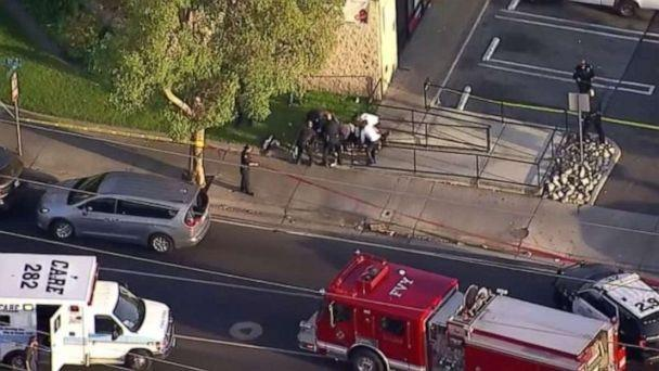 PHOTO: Paramedics attend to a man who was stabbed during a string of robberies in Garden Grove and Santa Ana, Calif., on Wednesday, Aug. 7, 2019. (KABC)