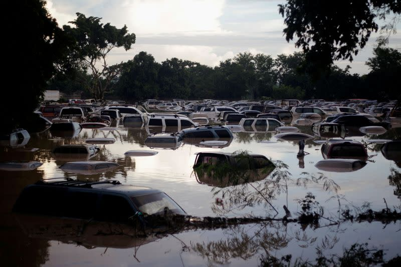 Vehicles are submerged at a plot flooded by the Chamelecon River due to heavy rain caused by Storm Iota, in La Lima
