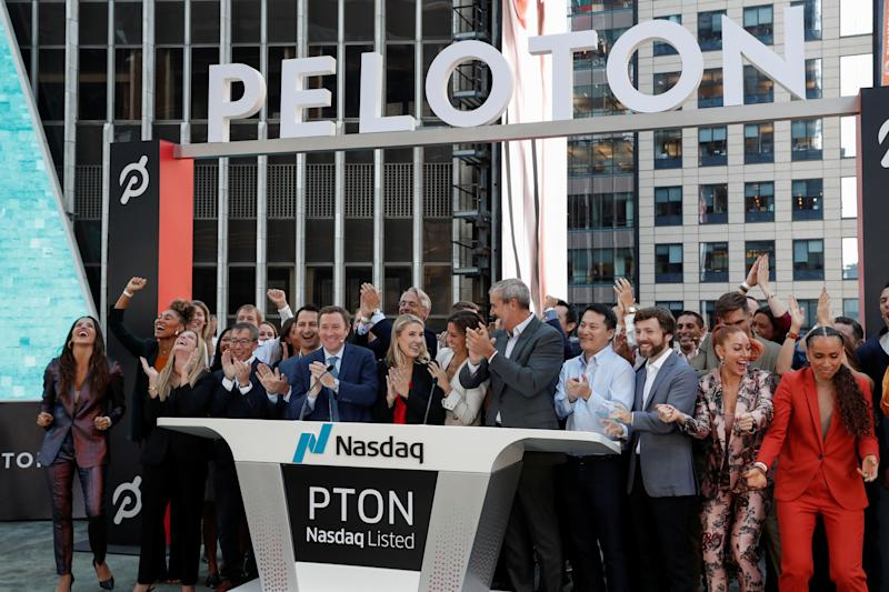 President of Peloton William Lynch and employees celebrate ringing the opening bell for the company's IPO at the Nasdaq Market site in New York City, New York, U.S., September 26, 2019. REUTERS/Shannon Stapleton