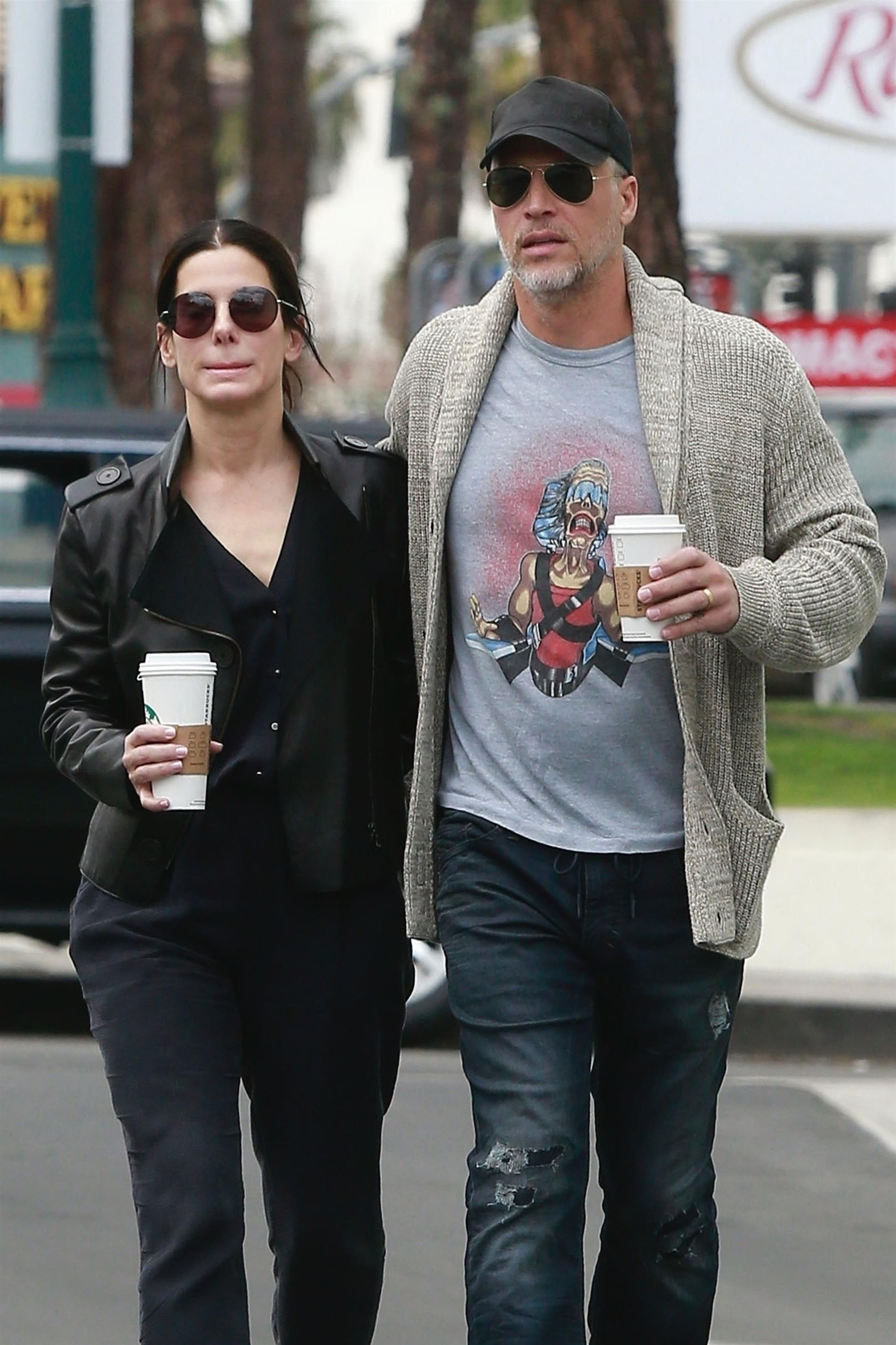 Sandra Bullock and Bryan Randall are spotted out together. (Photo: AKM-GSI)