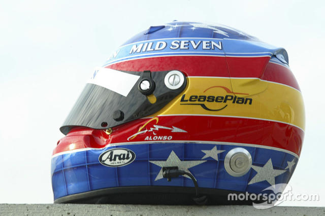 "Casco de Fernando Alonso en 2003 <span class=""copyright"">LAT Images</span>"