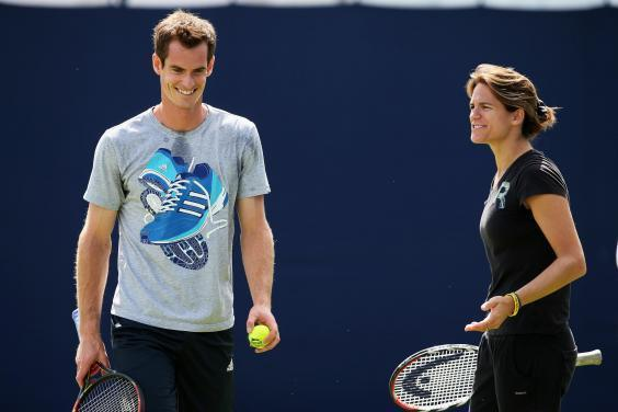 Andy Murray and Amélie Mauresmo on the practise courts at the Aegon Championships at Queens Club in 2014 (Getty Images)