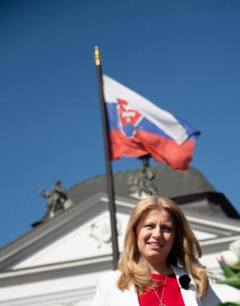 "Caputova ran on the slogan of ""Stand up to evil"" but made a point of keeping her rhetoric measured (AFP Photo/JOE KLAMAR)"