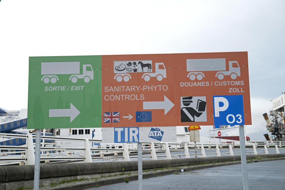 CALAIS, FRANCE - OCTOBER 17: A view of the new sign for the arriving trucks from the United Kingdom at the Calais border Ferries arrival on October 17, 2019 in Calais, France. Today the British Prime Minister Boris Jonhnson and the President of the European Commission Jean-Claude Juncker agreed on a Brexit deal just before the European Summit held in Brussels. This deal has now to be approved by the European Council and by the British Parliement. A deadline for a Brexit deal is October 31st.   (Photo by Aurelien Meunier/Getty Images)