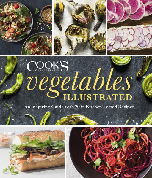 "This image provided by America's Test Kitchen in March 2019 shows the cover for ""Vegetables Illustrated"" It includes a recipe for Brussels Sprout Gratin. (America's Test Kitchen via AP)"