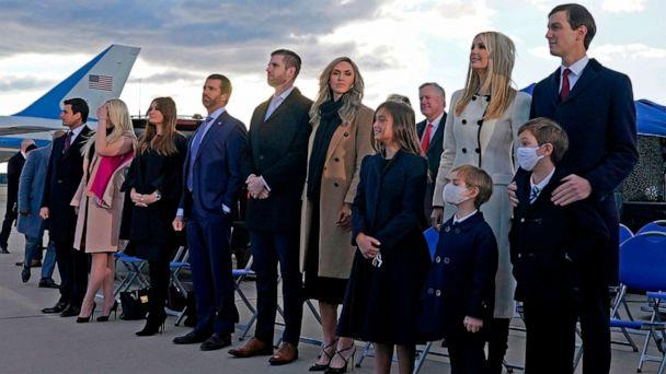 PHOTO: Ivanka Trump, Jared Kushner, their children, Eric Trump, Donald Trump Jr. and Trump family members stand on the tarmac at Joint Base Andrews in Maryland, Jan. 20, 2021. (Alex Edelman/AFP via Getty Images)