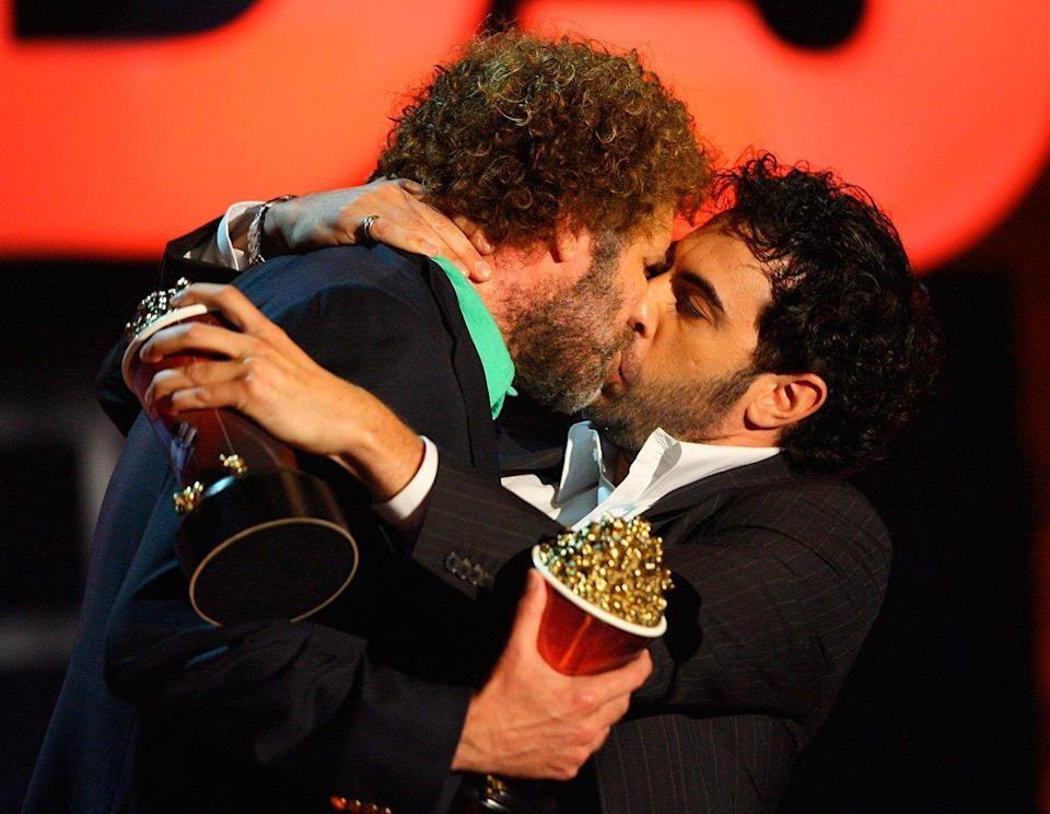 <p>The two actors celebrated their Talladega Nights kiss in typical fashion.</p>