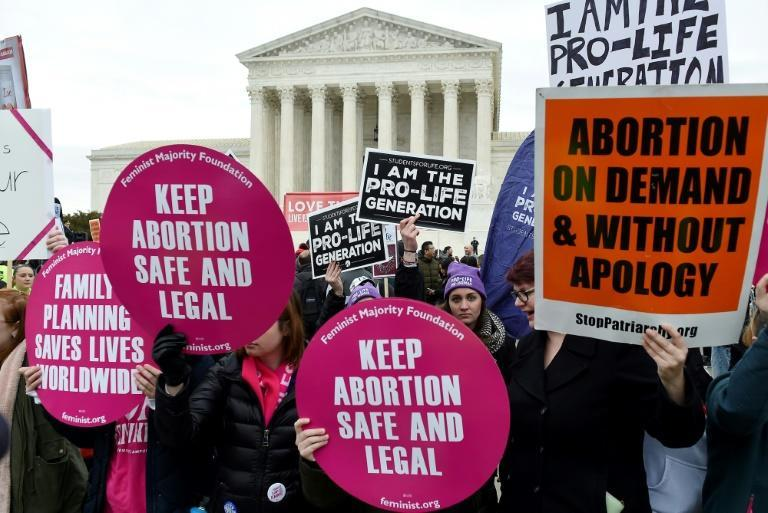 Supporters and opponents of abortion rights protest outside the US Supreme Court in 2020