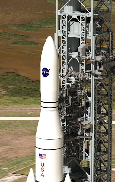 This artist concept shows NASA's Space Launch System, or SLS, which offers numerous benefits for scientific missions, from larger spacecraft mass to reduced travel time through the solar system in route to other worlds. (Concept updated Jan. 14