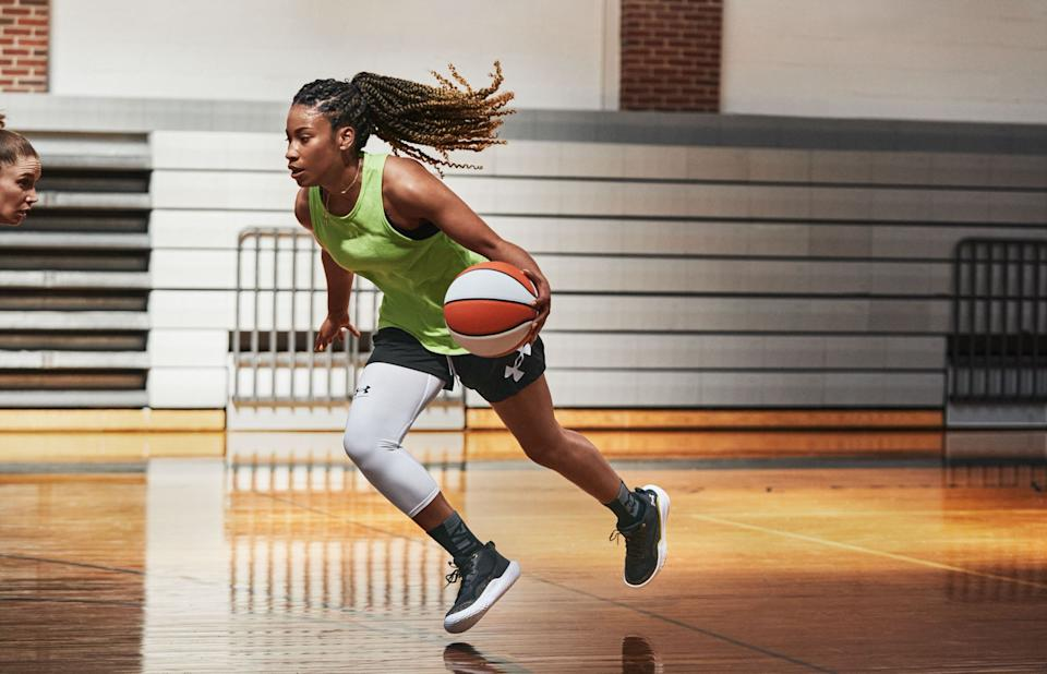 Dallas Wings star and Under Armour athlete Ty Harris says the UA Flow Breakthru 2 helps plant and pivot her feet easily. (Photo by Under Armour)