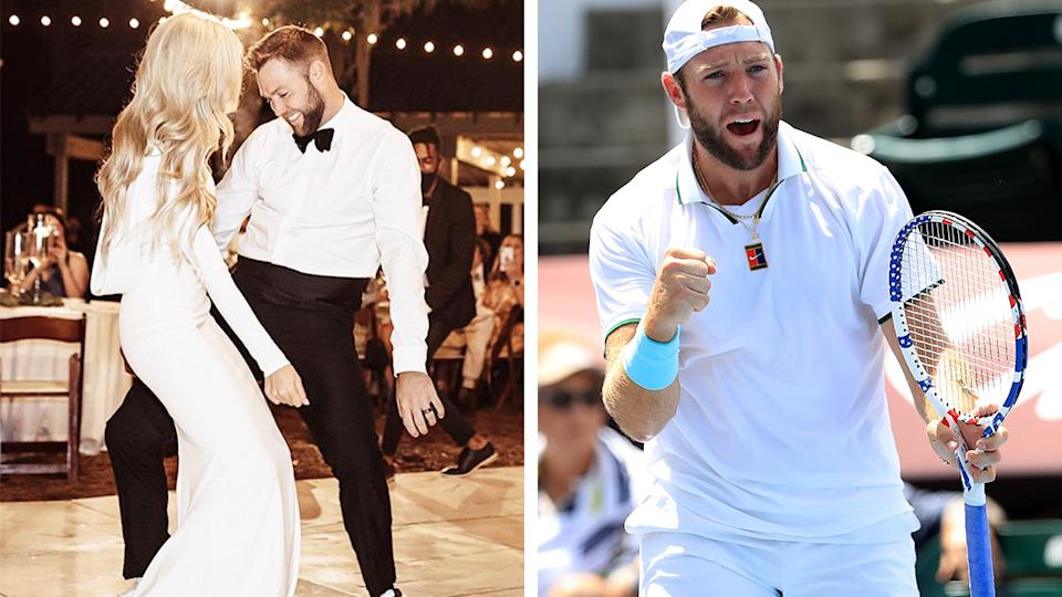 American tennis star Jack Sock's recent wedding, where attendees did not appear to wear masks, has raised eyebrows among fans as the Australian Open's harsh quarantine requirements have been revealed. Pictures: Instagram/Getty Images