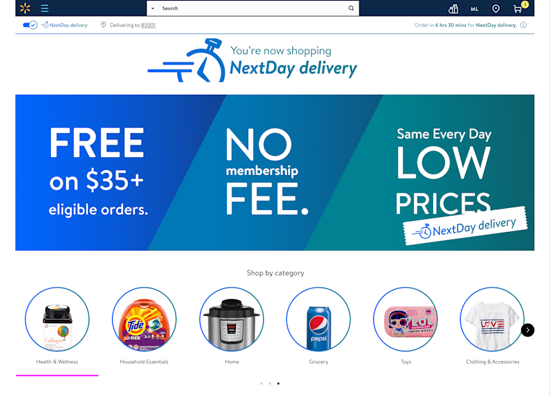 The homepage of Walmart's NextDay delivery service.