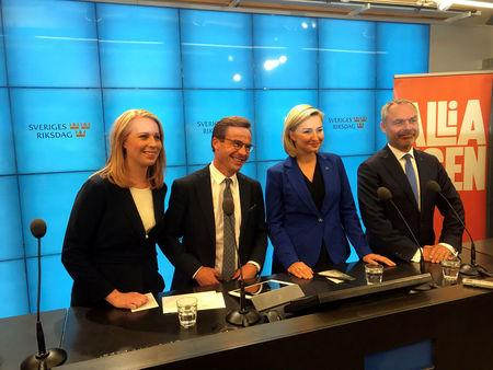 Sweden's Centre Party leader Loof, Moderate Party leader Ulf Kristersson, Christian Democrats party leader Thor and Liberal Party Bjorklun attend a news conference in Stockholm