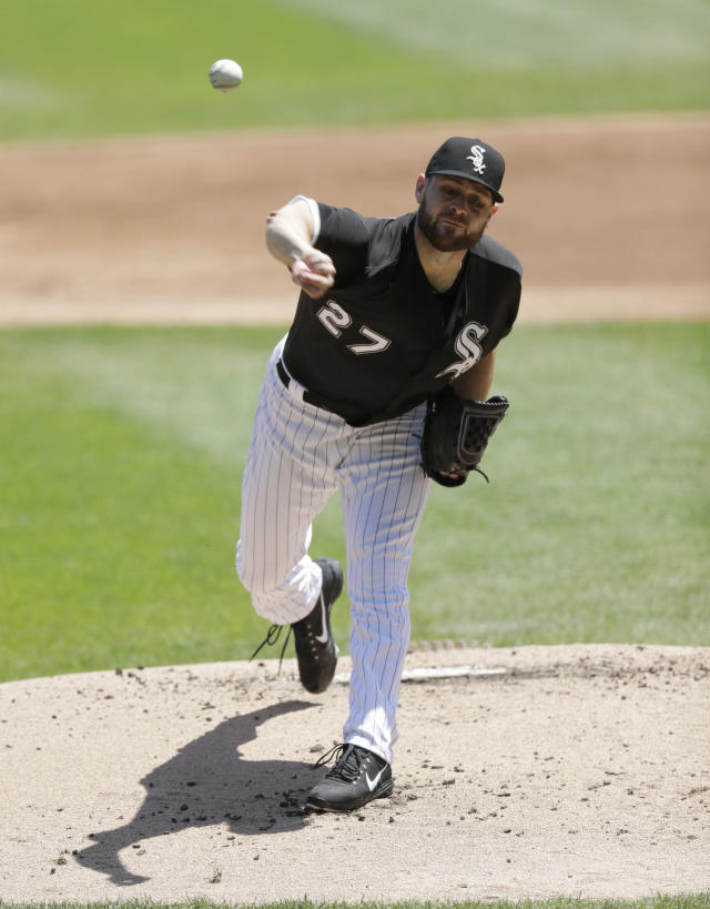 Chicago White Sox starting pitcher Lucas Giolito delivers during the first inning of a baseball game against the Baltimore Orioles Thursday, May 24, 2018, in Chicago. (AP Photo/Charles Rex Arbogast)