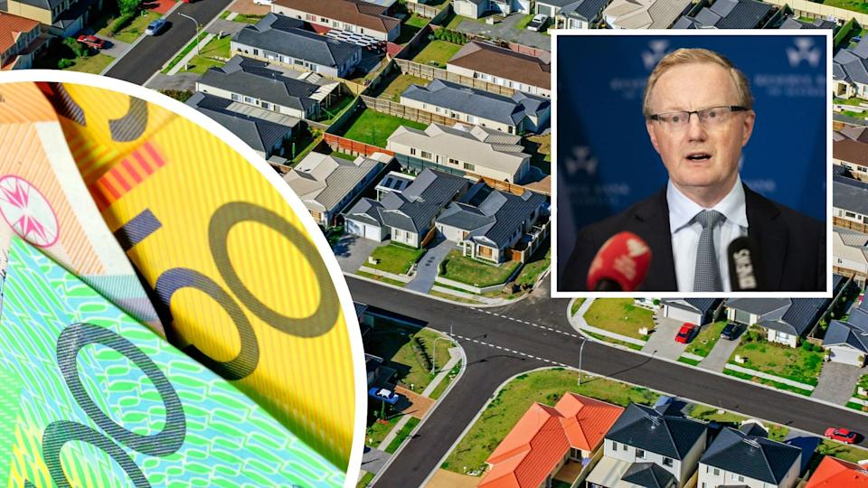 RBA Governor Philip Lowe, Australian cash, aerial view of Australian homes.