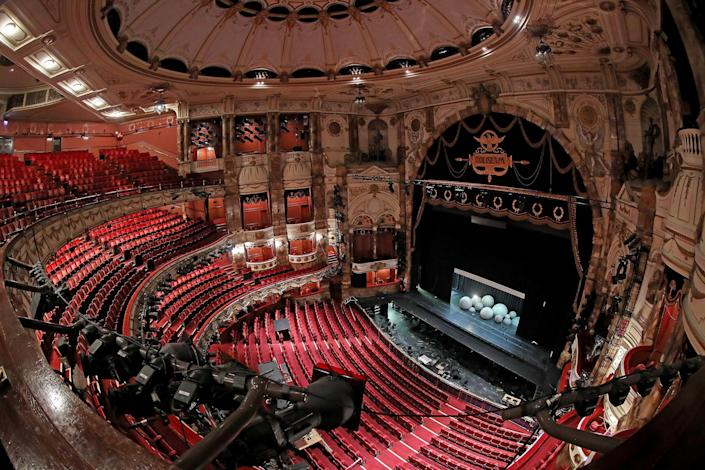 Image: The London Coliseum, the largest theatre in London's West End is currently closed along with the rest of London's theatre district, which has seen venues stand empty due to the Covid-19 pandemic. (Chris Jackson / Getty Images file)