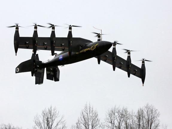 "The drone, nicknamed ""Greased Lightning"" can take off vertically and hover like a helicopter, but also fly like a conventional airplane."