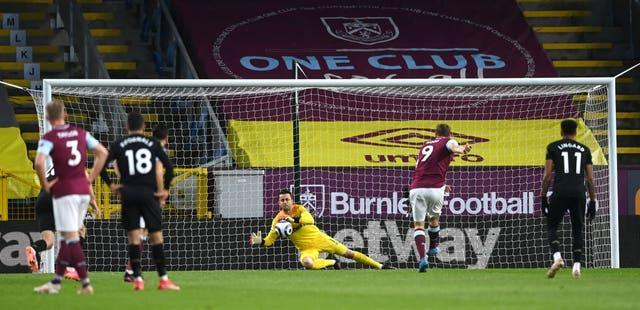 Chris Wood put Burnley in front from the penalty spot