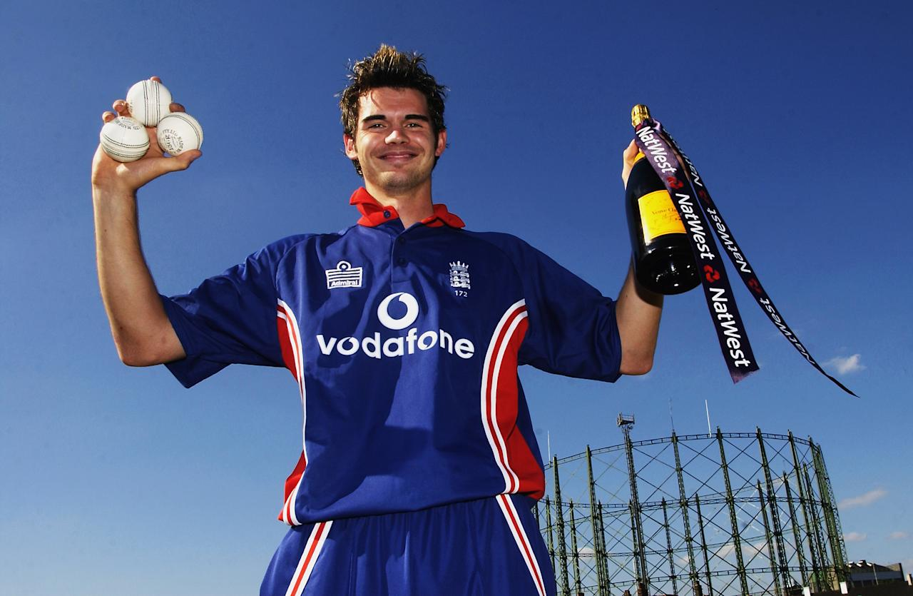 LONDON - JUNE 20:  James Anderson of England celebrates his hat-trick after the NatWest Challenge match between England and Pakistan on June 20, 2003 at the AMP Oval in London, England.  (Photo by Tom Shaw/Getty Images)