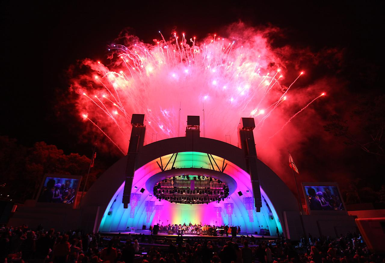 A display of fireworks during The Hollywood Bowl Opening Night Gala at the Hollywood Bowl on June 17, 2011 in Hollywood, California. <br><br>(Photo by Mathew Imaging/WireImage)