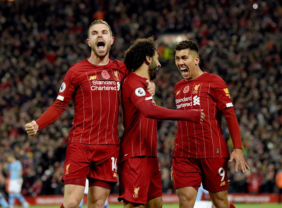 LIVERPOOL, ENGLAND - NOVEMBER 10: (THE SUN ON OUT, THE SUN ON SUNDAY OUT)  Mohamed Salah  of Liverpool  scores the second goal and celebrates  during the Premier League match between Liverpool FC and Manchester City at Anfield on November 10, 2019 in Liverpool, United Kingdom. (Photo by John Powell/Liverpool FC via Getty Images)