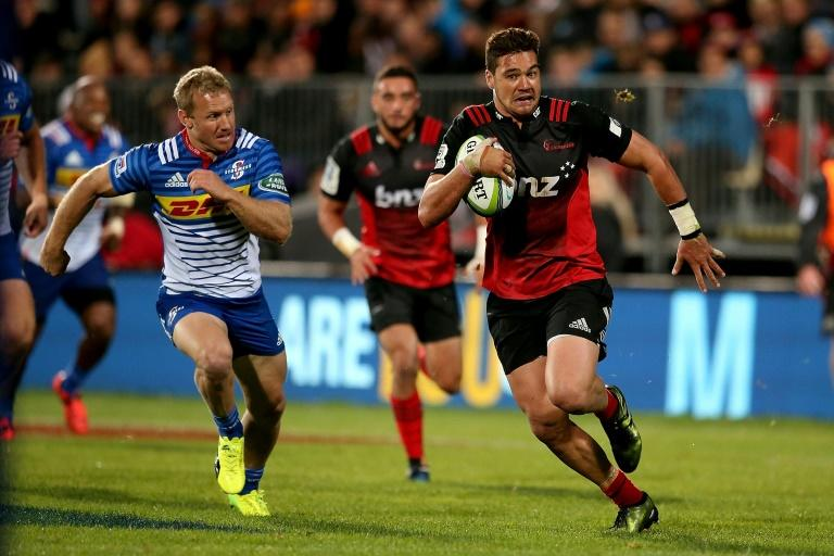 David Havili of Canterbury Crusaders makes a break with the ball during their Super Rugby match against Western Stormers, at AMI Stadium in Christchurch, on April 22, 2017