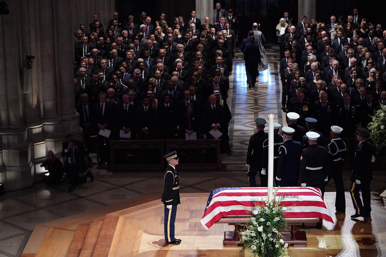 The casket is viewed during the funeral service.