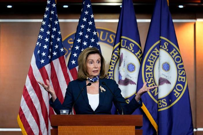 Speaker of the House Nancy Pelosi, D-Calif., speaks during a news conference at the Capitol in Washington, Thursday, Sept. 10, 2020. (AP Photo/Jacquelyn Martin) ORG XMIT: DCJM414