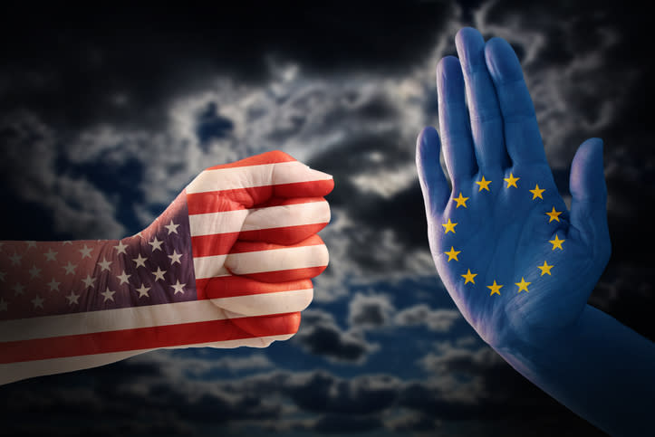 Cropped Hands With Flag Pattern Gesturing