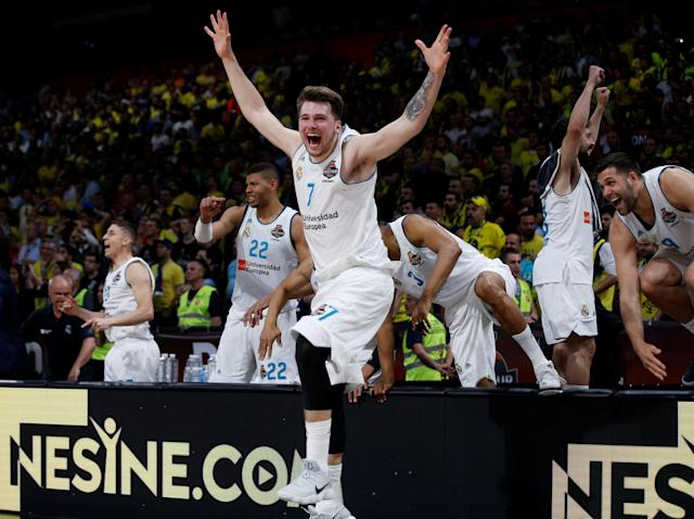 Basketball - Euroleague Final Four Final - Real Madrid vs Fenerbahce Dogus Istanbul - Stark Arena, Belgrade, Serbia - May 20, 2018 - Real Madrid's Luka Doncic celebrates. REUTERS/Alkis Konstantinidis TPX IMAGES OF THE DAY