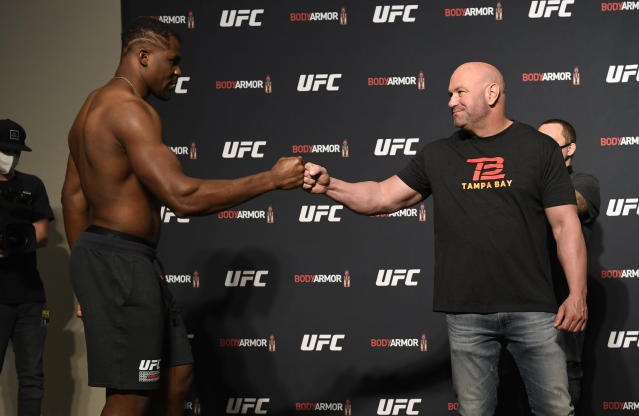 UFC president Dana White greets Francis Ngannou of Cameroon before UFC 249, which prompted John Oliver to opine. (Photo by Mike Roach/Zuffa LLC)