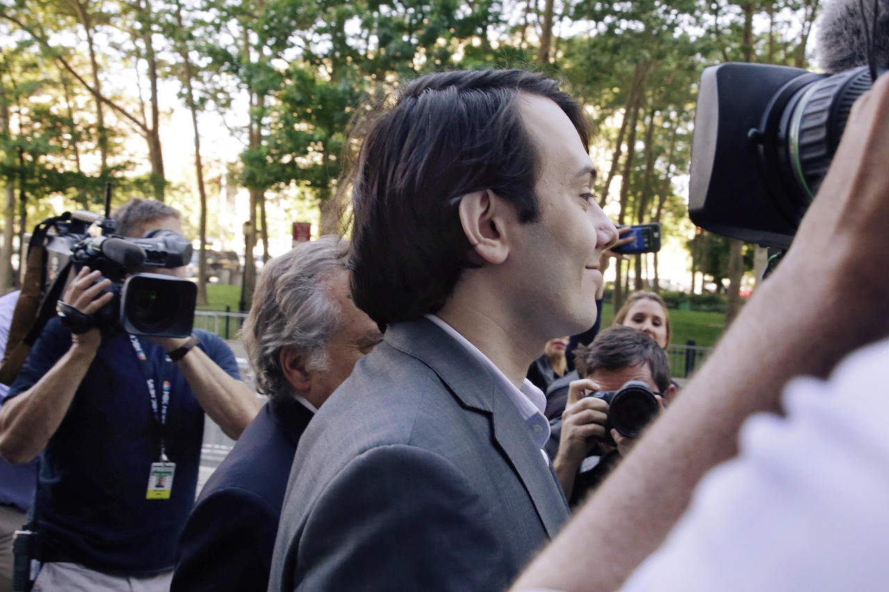 Martin Shkreli, the former pharmaceutical CEO who became a pariah after raising the cost of a life-saving drug 5,000 percent, arrives at federal court in the Brooklyn borough of New York for jury selection in his trial. (AP Photo/Richard Drew)
