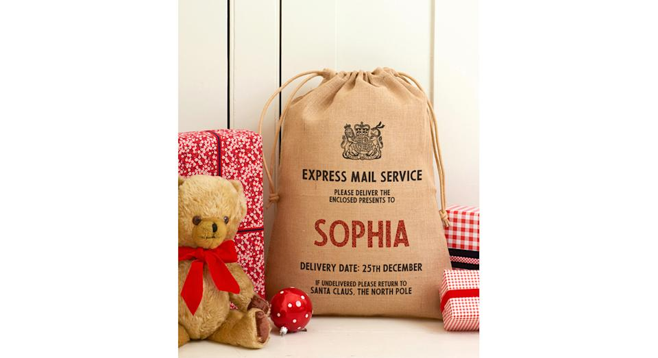 Personalised Drawstring Christmas Sack. (Joules)