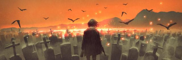 illustration of the back of a girl in a graveyard looking out into an orange sky with bird flying around