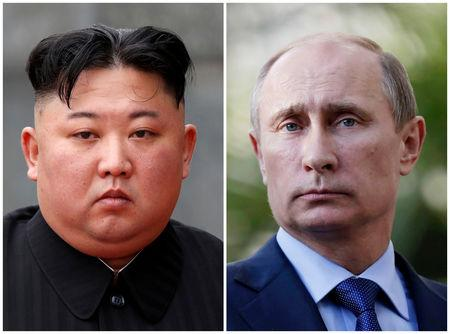 FILE PHOTO: A combination of file photos North Korean leader Kim Jong Un and Russia's President Vladimir Putin