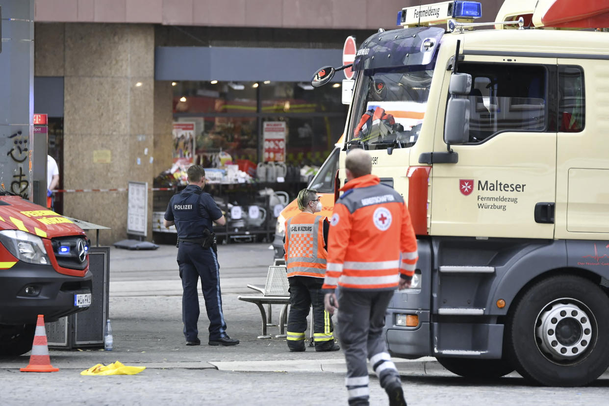 Emergency personnel is seen in the city center in Wuerzburg, southern Germany on June 25, 2021. - Several people were killed and others injured on Friday, June 25, 2021 in the southern German city of Wuerzburg, police said, with media reporting a knife attack. (Photo by BAUERNFEIND / NEWS5 / AFP) (Photo by BAUERNFEIND/NEWS5/AFP via Getty Images)