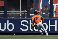 Baltimore Orioles center fielder Ryan McKenna makes a fielding error on a ball hit by New York Yankees' Aaron Judge during the first inning of a baseball game on Saturday, Sept. 4, 2021, in New York. (AP Photo/Adam Hunger)